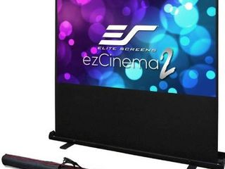 Elite Screens ezCinema 2  Manual Floor Pull Up with Scissor Backed Projector Screen  84 inch 16 9  Portable Home Theater Office Classroom Projection Screen with Carrying Bag  F84XWH2
