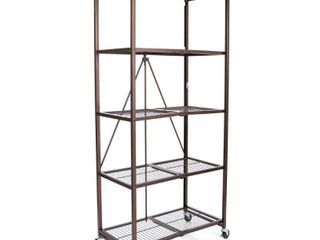 Origami large Wheeled 5 Shelf Folding Steel Wire Shelving  Bronze  21 x36 x78