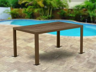 JUlTW02 JUBI PATIO TABlE WITH Plastic Wood TOP  BROWN WIC