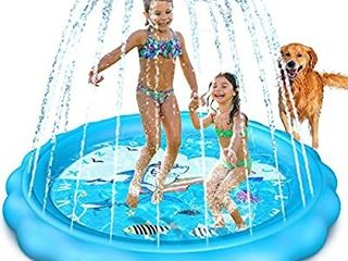 Dillitop Sprinkler for Kids  Splash Pad  Wading Pool and Kiddie Pool  Summer Outdoor Water Play Mat for for Boys Girls Fun Sprinkler Pool Sprinkler Toy Inflatable Spray Pad  Blue