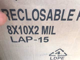 One Hundred Ziploc bags 8 x 10