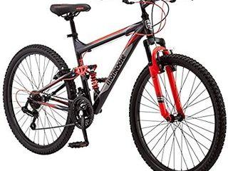 Mongoose Status Mountain Bike for Men and Women  Status 2 2  26 Inch Wheels  Black Red