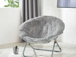 Urban Shop Mongolian Faux Fur Oversized Moon Chair  Gray