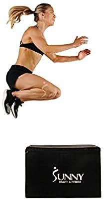 Sunny Health   Fitness Foam Plyo Box  440lb Weight Capacity with Weighted Foam for Stability and 3 in 1 Height Adjustment   30 24 20  for Plyometric Training