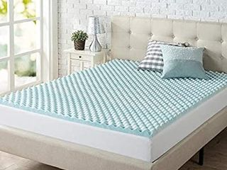 Zinus 2 Inch Swirl Gel Memory Foam Convoluted Mattress Topper   Cooling Airfl