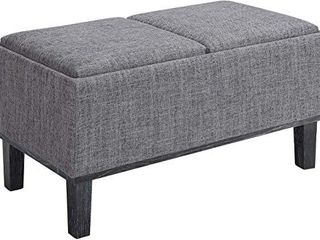 Convenience Concepts Designs4Comfort Brentwood Storage Ottoman  Gray Fabric