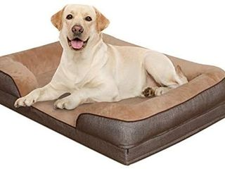 Heeyoo Waterproof Orthopedic Dog Bed  large Memory Foam Pet Beds Pillow with Removeable Machine Washable Cover and Non Slip Bottom  Great for Older Dog and Dogs with Arthritis