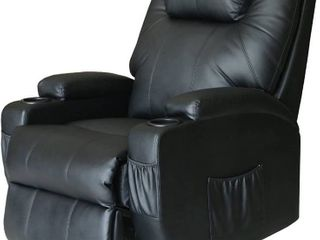 Extreme Comfort Deluxe Power lift Heated Vibrating Massage Recliner Chair with Wheels Control  Black