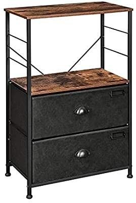 SONGMICS Nightstand  Industrial Bedside Table with 2 Fabric Drawers  Storage Shelves  Vertical Dresser Storage Tower with Wooden Top  Metal Frame  labels  Rustic Brown and Black UlVT03H