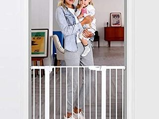Cumbor 46a Auto Close Safety Baby Gate  Extra Tall and Wide Child Gate  Easy Walk Thru Durability Dog Gate for The House  Stairs  Doorways  Includes 4 Wall Cups  2 75 Inch and 8 25 Inch Extension