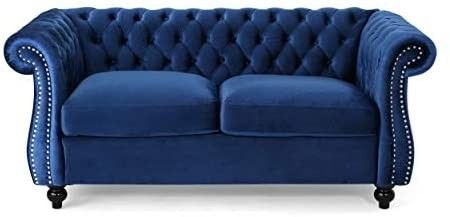 Christopher Knight Home Karen Traditional Chesterfield loveseat Sofa  Navy Blue and Dark Brown  61 75 x 33 75 x 27 75  Model 306027