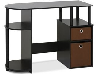 Furinno jaya simplistic computer study desk with bin drawers   Mainstays vinyl and mesh task chair