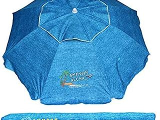 AMMSUN 6 5 ft Outdoor Patio Beach Umbrella Sun Shelter with Tilt Air Vent Carry Bag lake Blue
