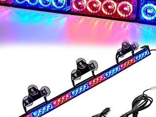 led Warning lights 36 Inch Police Emergency Strobe light Bar 13 Flash Patterns 32 led Traffic Advisor Vehicle Truck Cop Strobe Warning Flashing led Safety light with Cigar lighter 35  5 In  Red Blue