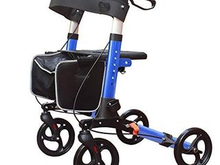 lIGHTWEIGHT COMPACT DESIGNED FOlDING ROllATOR WAlKER WITH 8 INCHES WHEElS WIDE SEAT THICK BACKREST AND ADJUSTABlE HANDlE HEIGHT  BlUE