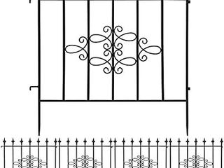 AMAGABElI GARDEN   HOME Decorative Garden Fence GFP008 27inx10ft Outdoor Coated Rustproof Metal Garden Fencing Panel Animal Barrier Iron Folding Edge Wire Border Fence Ornamental for Patio landscape