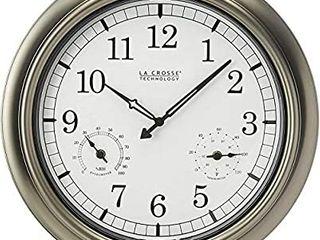 la Crosse Technology WT 3181P Metal Clock  18 Inch  Pewter