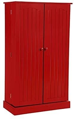 HOME BI Kitchen Pantry Cabinet 5 Door Storage Cabinet with 5 Shelves Cupboard Space Saving Cabinet Red