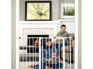 Regalo Extra Wide Easy Step Metal Walk Through Baby Gate   White