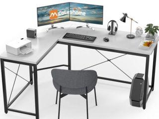 l Shaped Desk Corner Computer Desk Sturdy Computer Table Writing Desk Gaming Desk Workstation  White
