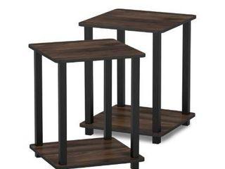 Simplistic End Table  Set of Two  Columbia Walnut Black  12127CWN BK