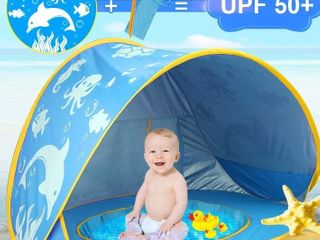 iGeeKid Baby Beach Tent Dolphin Pop Up Portable Sun Shelter Tent with Pool Children s Beach Tent 50  UV Protection   Waterproof Shade Baby Pool Tent for Aged 0 4  Blue