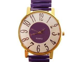Women s Jumbo Purple Inlaid Dial Purple Stretch Band Watch