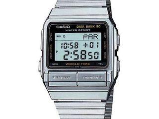 Casio Men s Digital Data Bank Stainless Steel Silver Watch DB520A 1