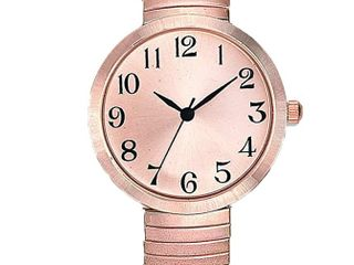 Women s Rose Gold Watch Easy Read Round Rose Gold Dial Rose Gold Stretch Band Watch