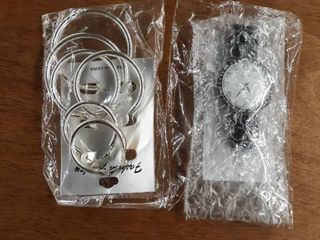Watch Set Jumbo Watch Expansion Band Crystal Bezel Silver Hoop Earring Set