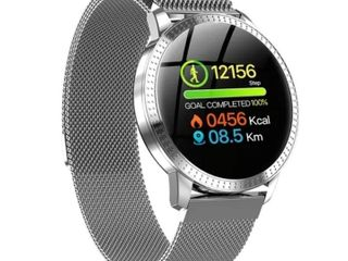 Smart Watch Fitness Wristband Sport Tracker 1 22 inch Waterproof IP67 Heart Rate Blood Pressure Monitoring  Silver