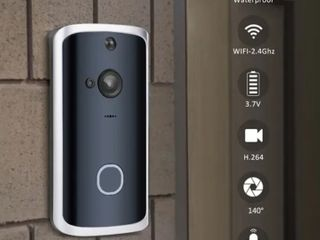 Smart Doorbell Wireless WiFi Night Vision App View 2 way Talk HD Security DoorBell Chime Remote Home Monitoring   Black
