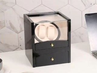 Watch Winder Display Box Automatic Rotation Storage 2 Grids Wooden Cases