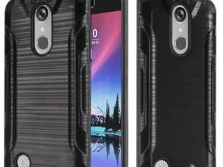 HR Wireless Dual layer Hybrid Rubber Coated Hard Plastic Soft Silicone Case Cover For lG Grace 4G Harmony K20 Plus K20 V  Black
