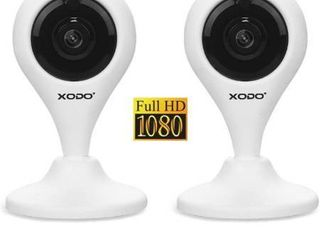 Xodo 1080p Wireless Indoor Bullet Security Surveillance Camera Wi Fi Night Vision  2 Pack  White