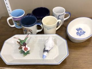 Pfaltzgraff Oval Bowl and Bread Plate  Mugs