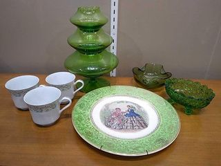 23K Decorative Plate  Green Glassware  3 Teacups