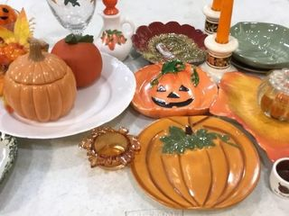 Fall Decorations including Plates and Candles