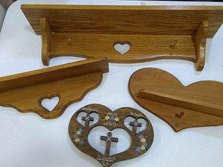 4  Wood Wall Shelves w  Hearts