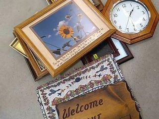 Selection of Wood Picture Frames  Clock  Welcome