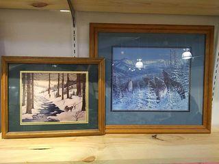 2  Wood Frame Wolf Prints