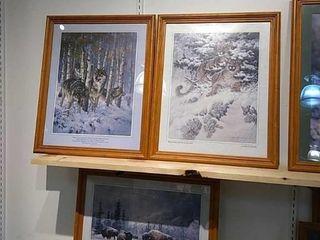 3  larry Fanning Framed Wildlife Prints  22 x 18