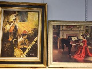 2  Musical Paintings  Oil On Canvas by W  lucas