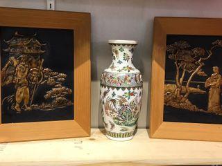2  Asian Scene Frames   Vase