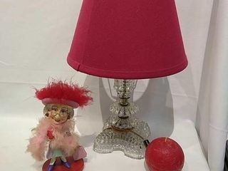 Small Glass Electric Table lamp  Red Candle