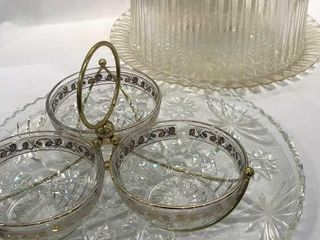 Glass Platter  Cake Stand    Dip Bowl