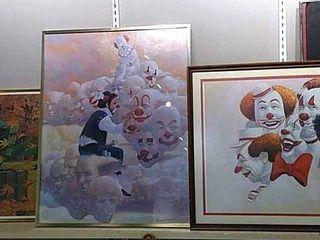 3  Robert Owen Framed Clown Pictures