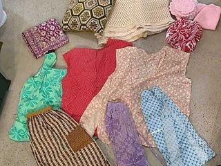 6  Aprons  Crocheted Bedspread  Towels