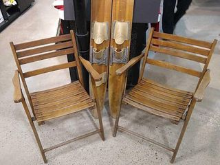 Pair of Vintage Wood Folding Chairs   Water Skis