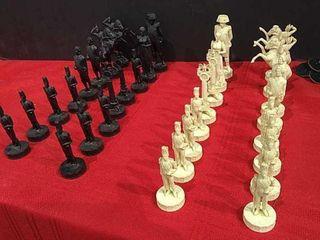 Vintage Black   White Plastic Chess Pieces